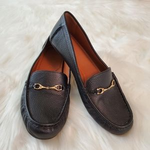Coach Mavis Sz 8.5 Black Pebbled Leather Loafers